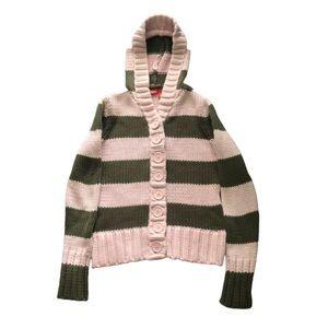 Heavy Knit Striped Hooded Cardigan